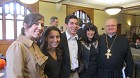 Past and Present  Presidents of PU OCF following Liturgy: Andreana Kenrick Grad School, Stephanie Colello '13, George Touloumes '14, Virgina Pourakis '93, Fr. Daniel Skvir '65 in background ProtoDeacon Michael Sochka, our devoted Yalie