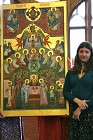Melanie Andrejev with icon written by her father