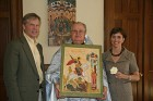 Iconographer Lydia Hull with husband, Brandon, and Fr. Dan